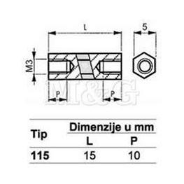Slika za ODSTOJNIK Tip 1  M3x15 MM