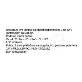 Slika za ISPRAVLJAČ ADAPTER 220V / 3-12V 0,6A