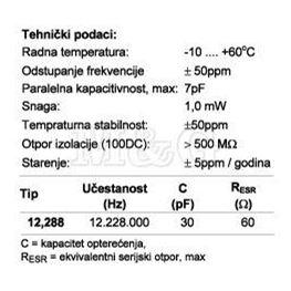 Slika za QUARZE KRISTAL HC49/U-S 12,288 MHz