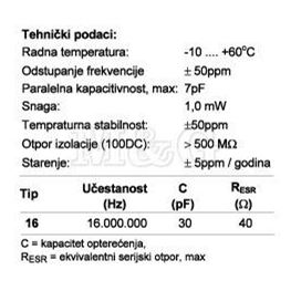 Slika za QUARZE KRISTAL HC49/U-S 16 MHz