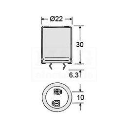 Slika za KONDENZATOR EL. S 100µF 400V Samwha 85°C Tip A