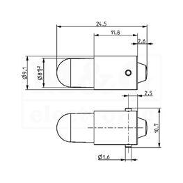 Slika za SIJALICA LED BA9S Tip L 230V AC CRVENA